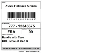 Single Air Cargo Label