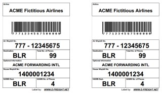 Double HAWB Air Cargo Label